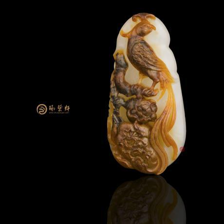 新疆和田红沁一级白籽玉挂件 凤戏牡丹 13.5克