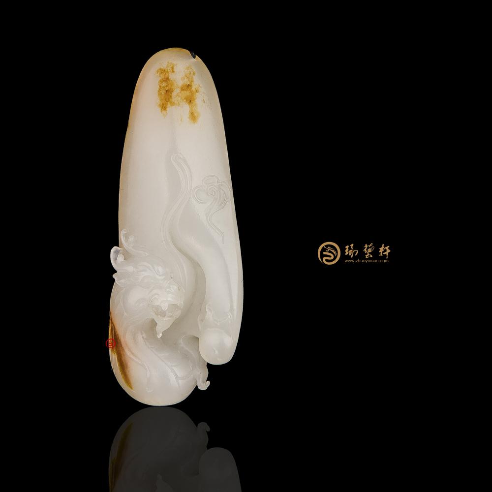 【琢藝軒】新疆和田紅皮一級白籽玉掛件 祥龍 10克(獨籽)