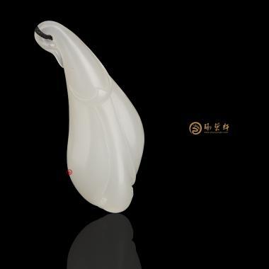 【琢艺轩】新疆和田洒金皮羊脂白籽玉挂件 兰花 13克