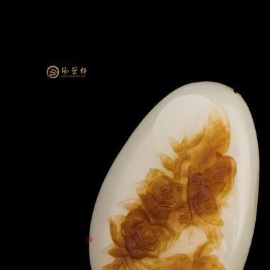 【琢艺轩】新疆和田红沁白玉籽玉挂件 花开富贵 47.5克