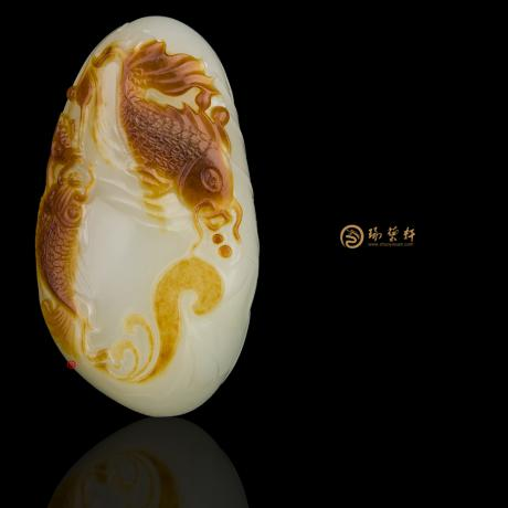 新疆和田红沁皮白玉籽玉挂件 庆余年 39克