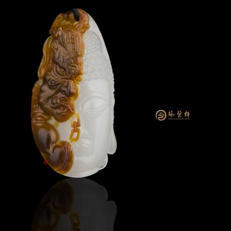 穆宇静 新疆和田红沁羊脂白籽玉挂件 一念之间 17克