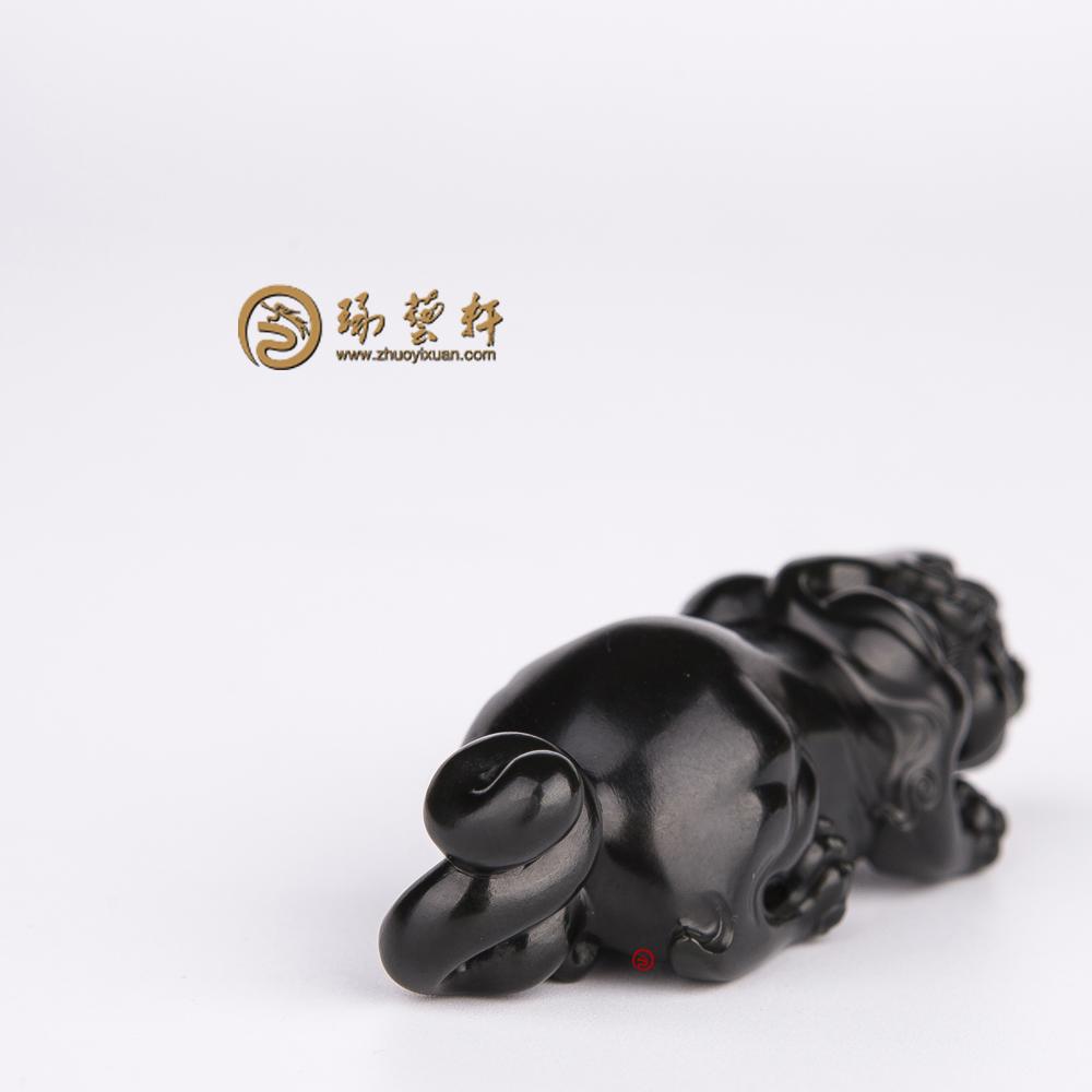 【琢藝軒】新疆和田墨碧籽玉掛件 貔貅 33.4克