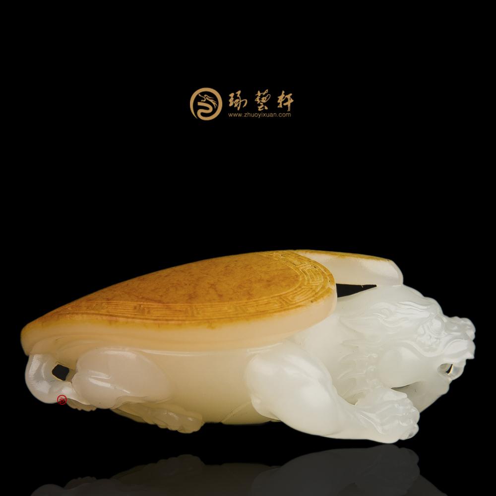 【琢艺轩】新疆和田红皮羊脂白籽玉挂件 龙龟 33克