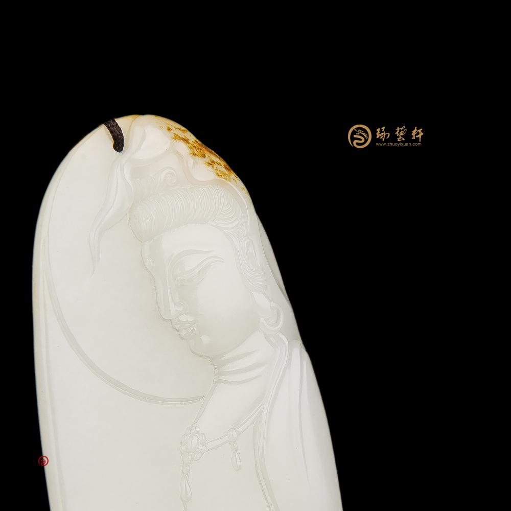 【琢藝軒】新疆和田黃皮一級白籽玉牌子 花開見佛 22.5克