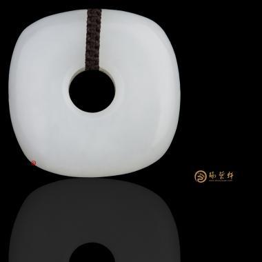 【琢藝軒】新疆和田黃皮羊脂白籽玉掛件 平安扣 21克
