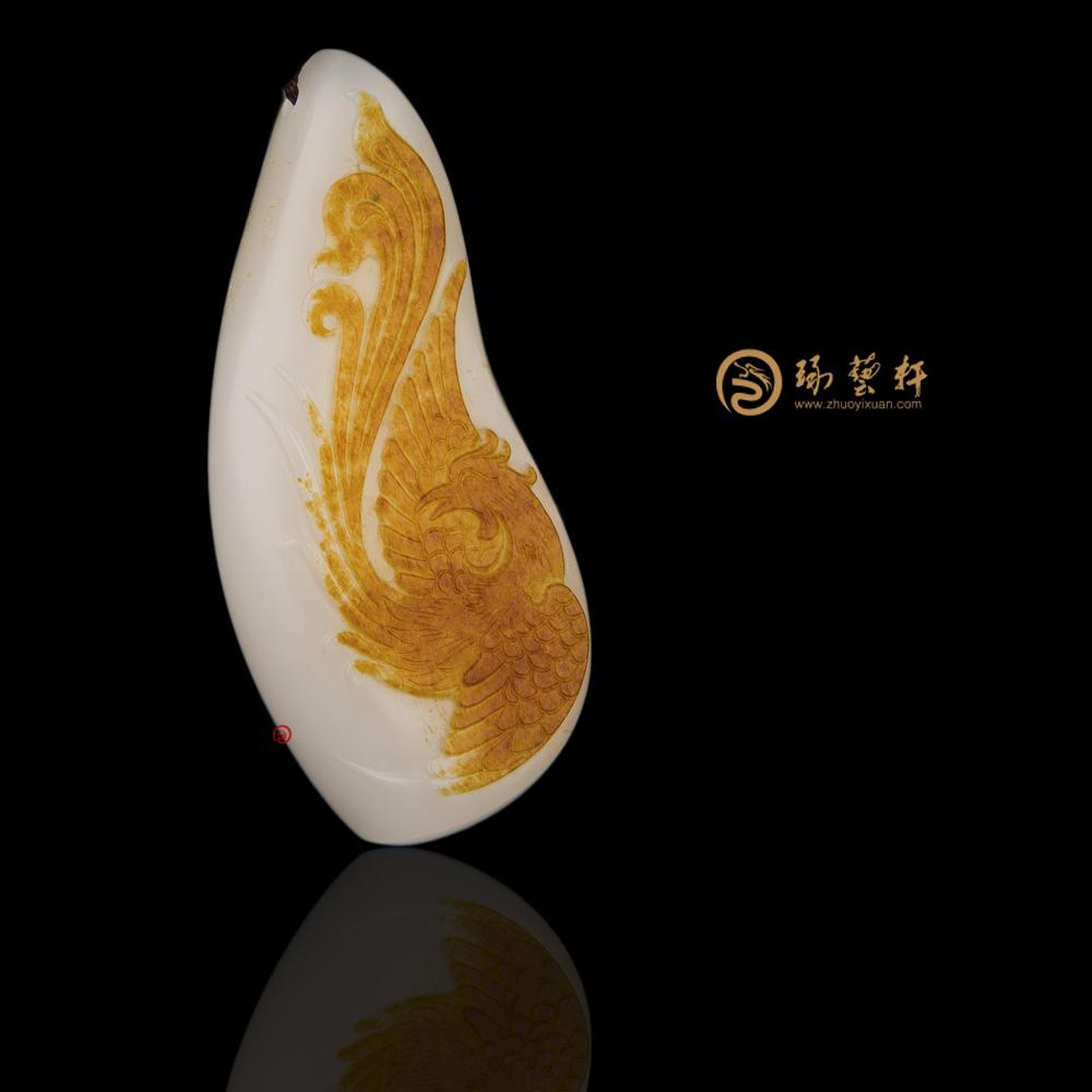 【琢藝軒】新疆和田紅皮羊脂白籽玉掛件 涅磐 24克