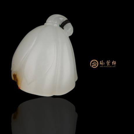 新疆和田红沁羊脂白籽玉挂件 莲蓬 12克