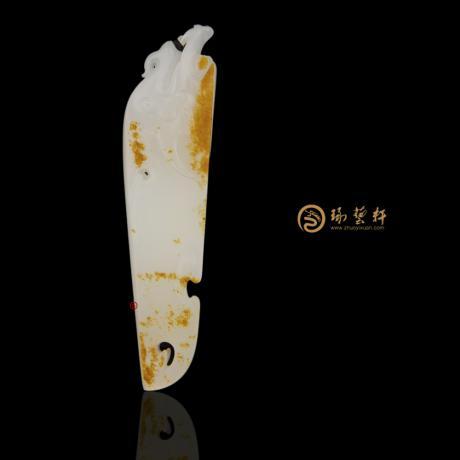 新疆和田紅皮一級白籽玉掛件 府上有龍 14.8克