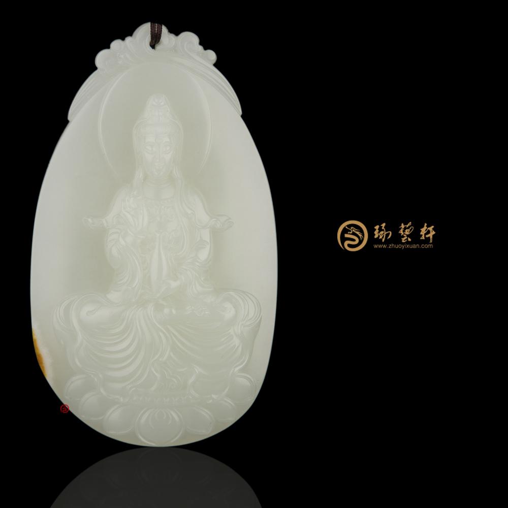 【琢藝軒】穆宇靜 新疆和田黃皮白玉籽牌子 觀音 109克