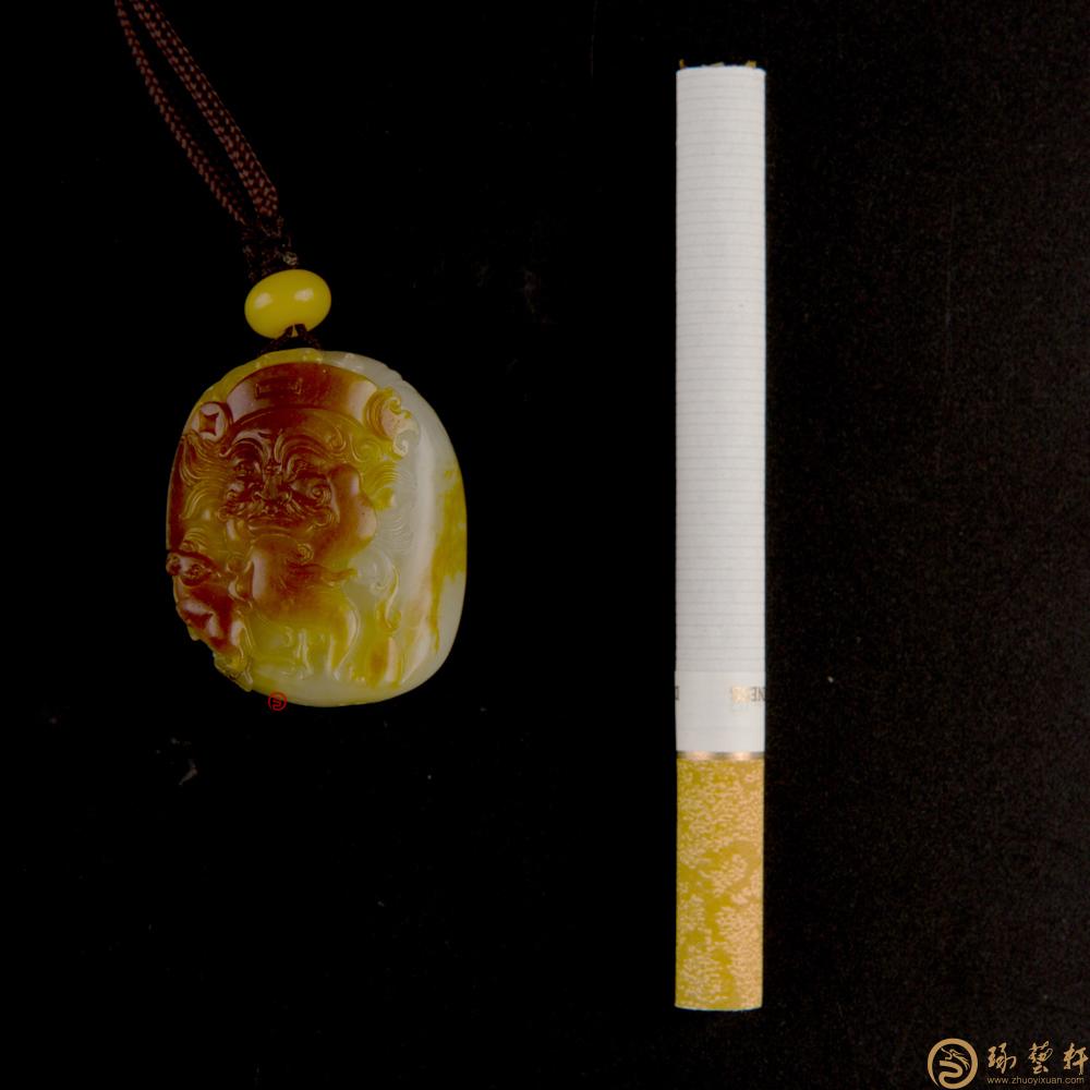 【琢艺轩】新疆和田玉红沁白玉籽挂件 财神 23克(客户代卖)