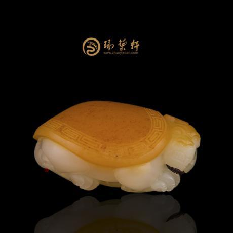 新疆和田红沁白玉籽玉挂件 龙龟 36.6克