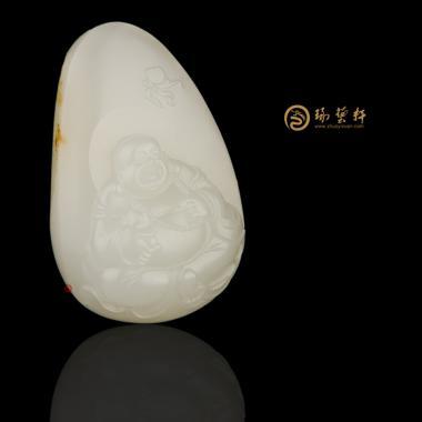 【琢藝軒】新疆和田灑金皮一級白玉籽玉掛件 彌勒佛 44.3克