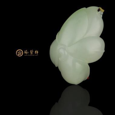 【琢艺轩】新疆和田籽玉翠青挂件 莲 10克