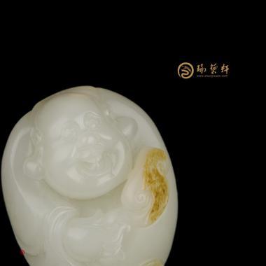 【琢藝軒】新疆和田黃皮白玉籽掛件 彌勒佛 40克