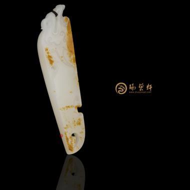 【琢藝軒】新疆和田紅皮一級白籽玉掛件 府上有龍 14.8克