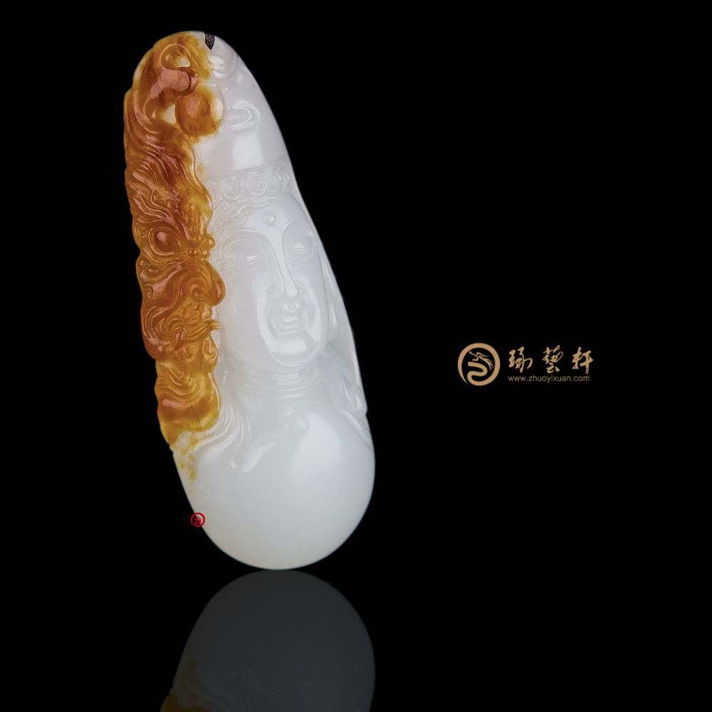 【琢艺轩】穆宇静 新疆和田红沁羊脂白籽玉挂件 转念之间 8.3克