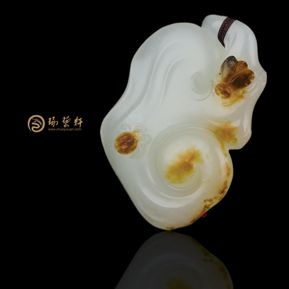 【琢艺轩】新疆和田红皮白玉籽玉挂件 如意 13.8克