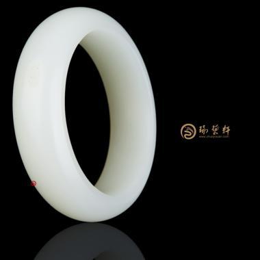 【琢艺轩】新疆和田白皮羊脂白籽玉 手镯 89.3克