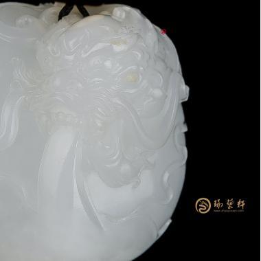 【琢艺轩】新疆和田白皮羊脂白籽玉挂件 潜龙出渊 45.6克
