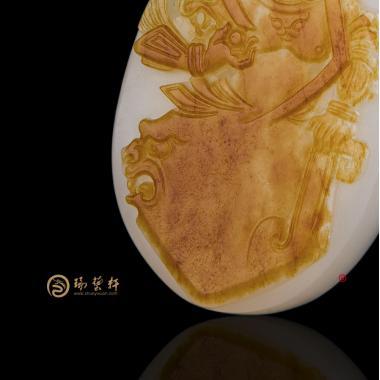 【琢藝軒】穆宇靜 新疆和田紅皮羊脂白籽玉掛件 守護 35.8克