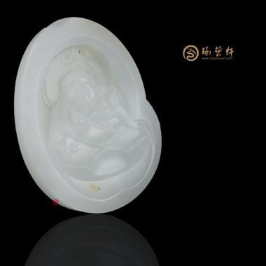 【琢艺轩】新疆和田洒金皮一级白籽玉挂件 弥勒佛 29克
