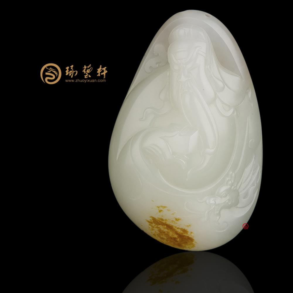 【琢藝軒】新疆和田紅皮白玉籽玉把件 關公 141.6克(獨籽)