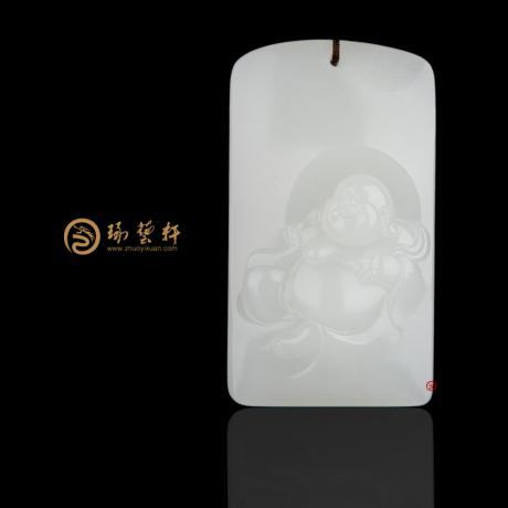 新疆和田白皮一级白籽玉牌子 弥勒佛 33.5克