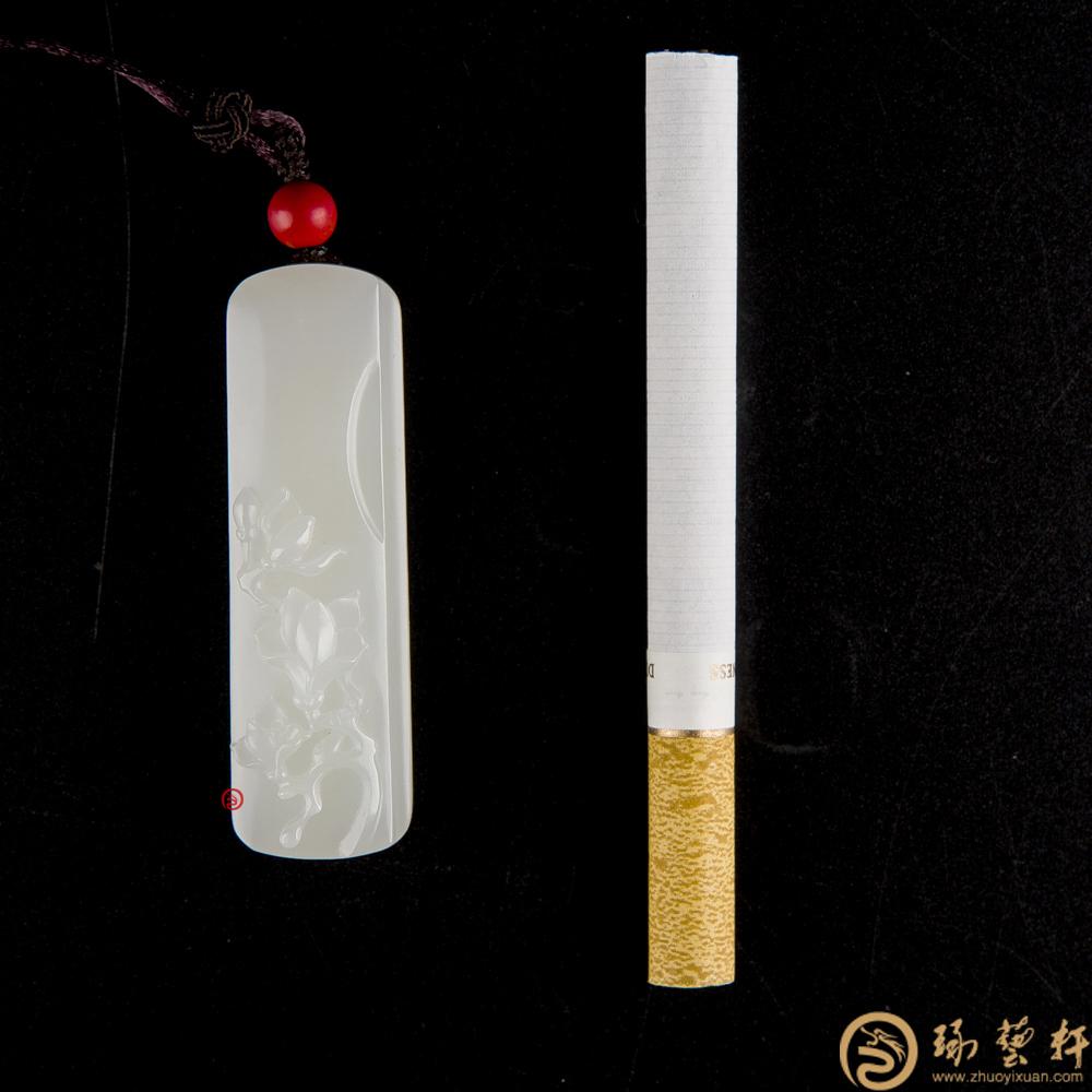 【琢艺轩】新疆和田白玉籽玉挂件 兰花 21.6克