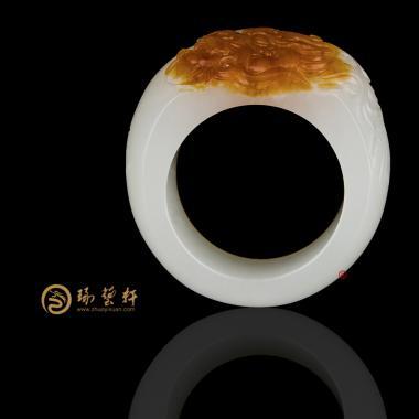 【琢藝軒】新疆和田紅沁皮一級白籽玉扳指 神武 11.8克