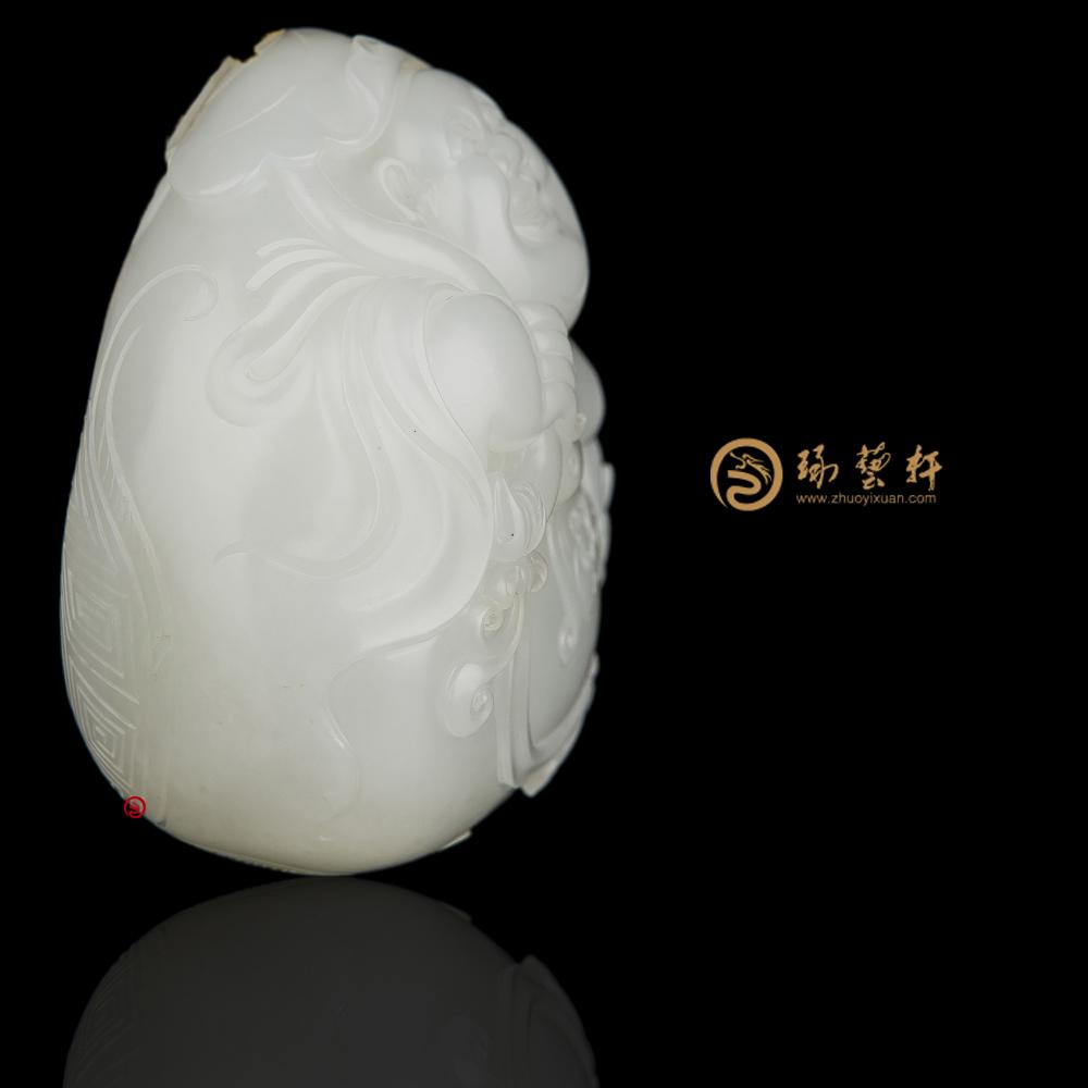 【琢艺轩】穆宇静 新疆和田黄皮羊脂白籽玉把件 弥勒佛(独籽) 184.2克