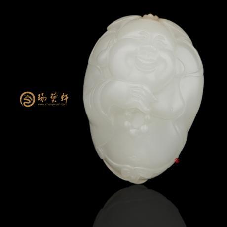 新疆和田黃皮一級白玉籽玉掛件 彌勒佛 26.3克