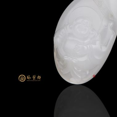【琢藝軒】新疆和田白皮羊脂白籽玉掛件 彌勒佛 14.5克