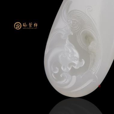【琢藝軒】新疆和田灑金皮羊脂白籽玉掛件 祥龍納福 32克
