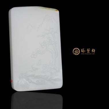 【琢藝軒】新疆和田紅皮羊脂白籽玉牌子 清風徐來 65.5克